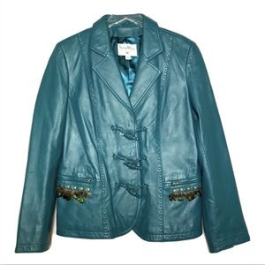 Pamela McCoy Genuine Leather Boho Jacket In Teal